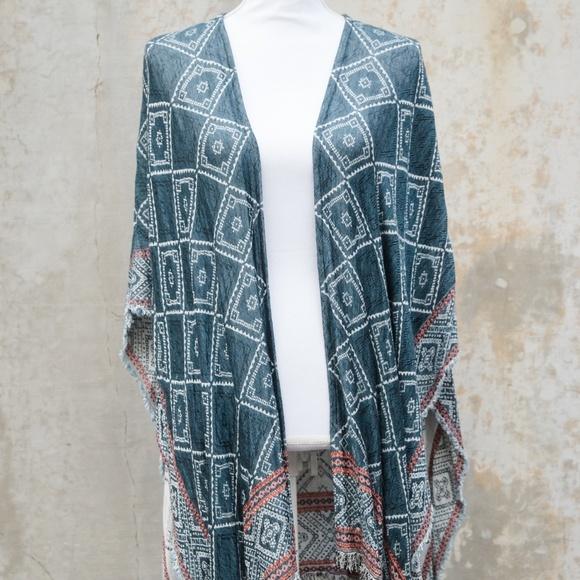 Ecote Jackets & Blazers - Ecote Turquoise Patterned Shaw